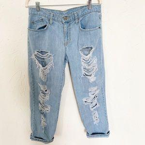 Carmar Boyfriend Jeans Distressed Light Wash Sz 27